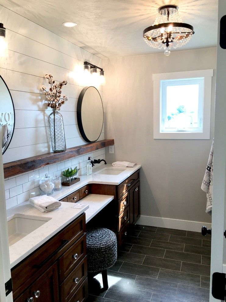 Farmhouse Master Bathroom Stained Vanities With White Countertops Shiplap Wall Bathroom Countert Farmhouse Master Bathroom Master Bathroom Bathroom Decor