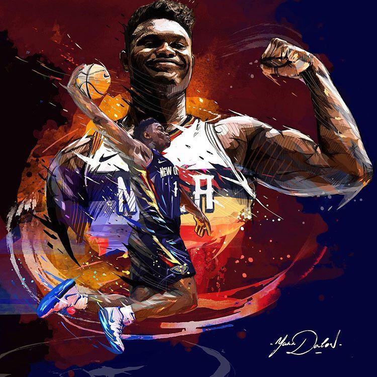 Instagram 上的 Yanndalon Artist My Painting Of Zionwilliamson Zionwilliamson Zion Williamson Nola Cool Basketball Wallpapers Nba Art Basketball Wallpaper