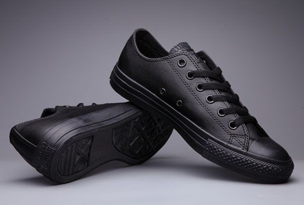 0397f7154c78  converse Classic Converse Chuck Taylor All Star Pure Black Leather Low Tops  Sneakers