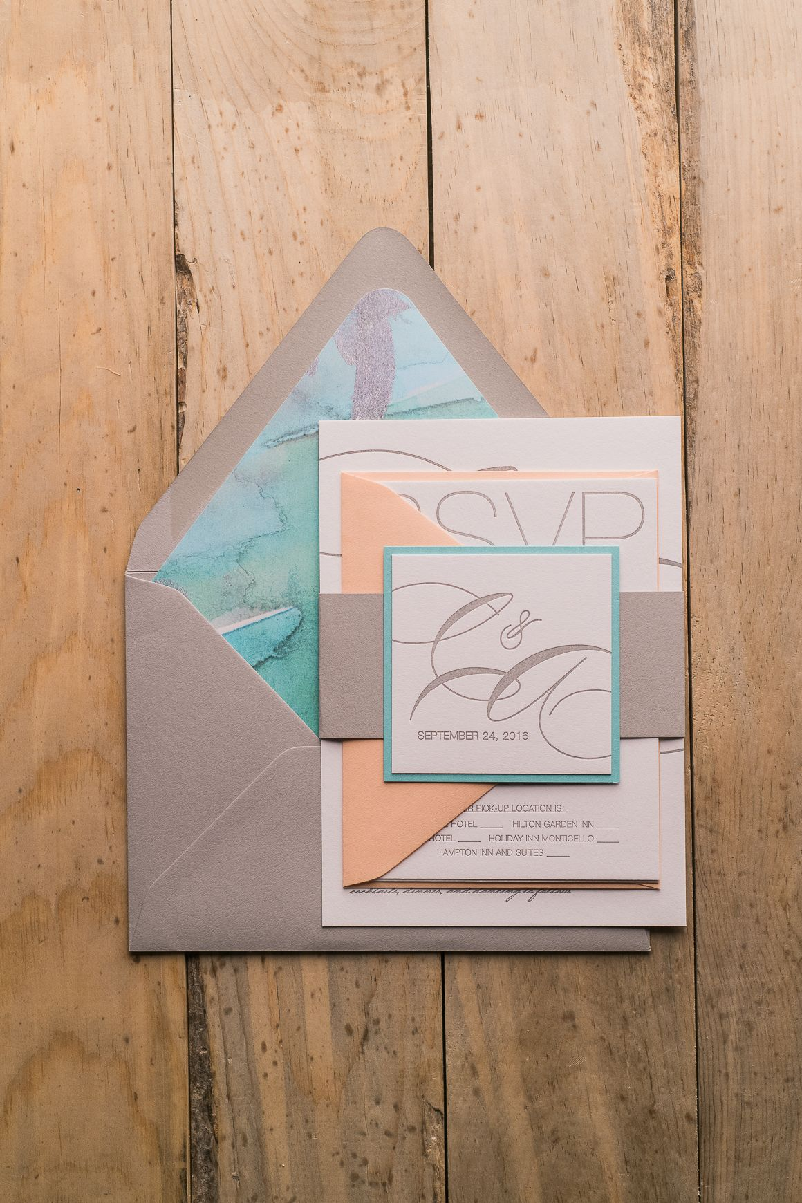 champagne blush wedding invitations%0A Grey  Turquoise and Coral Watercolor Beach Cutie Letterpress Wedding  Invitations