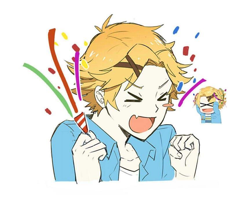 Yoosung and his happy/confetti icon Mystic messenger