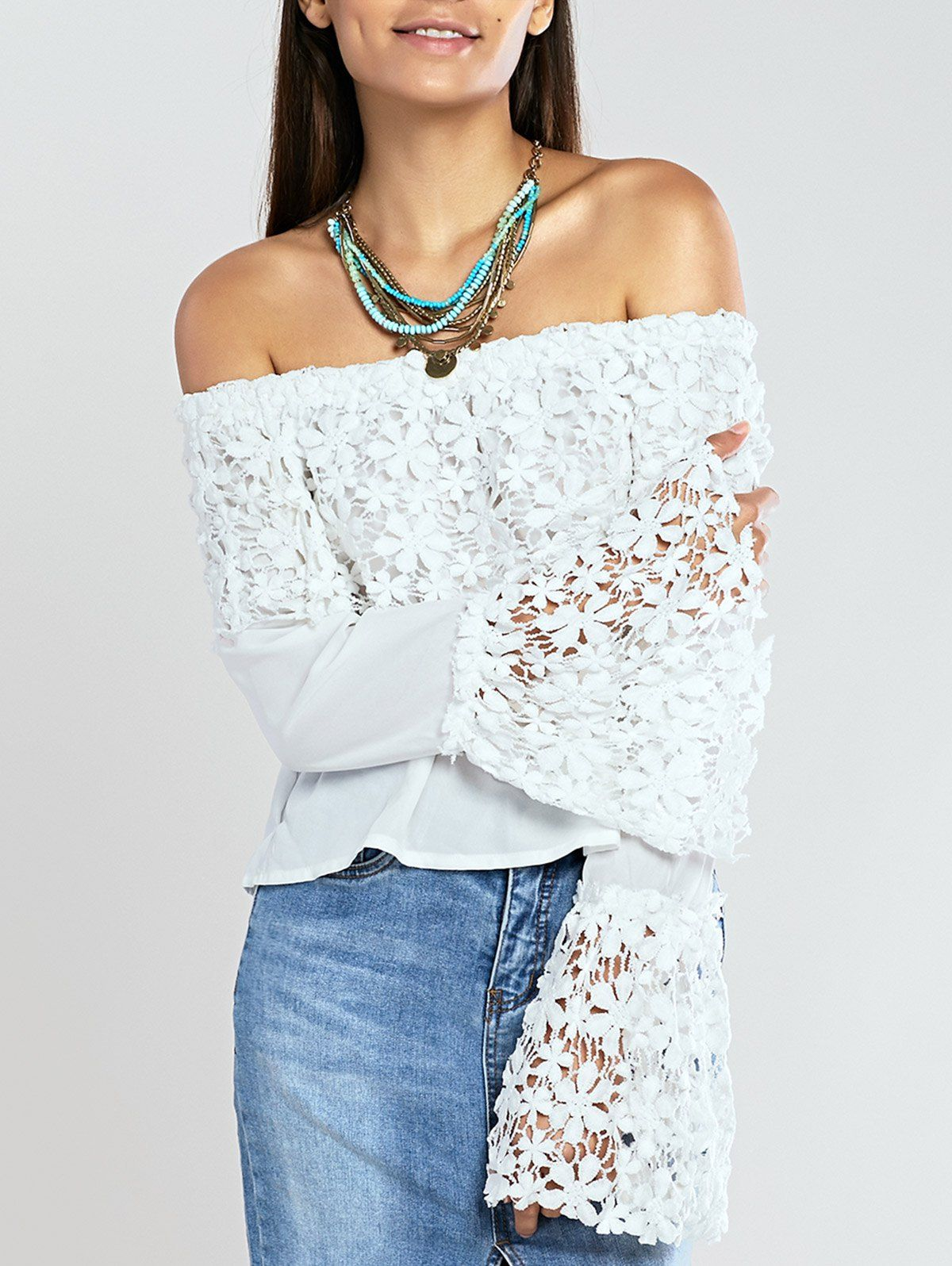 3d775f85a Sweet Crochet Off The Shoulder Lace Trim Bell Sleeve Blouse | Blusa  ciganinha branca com renda guipir LINDA! #dress #fashion #modafeminina  #vestido ...