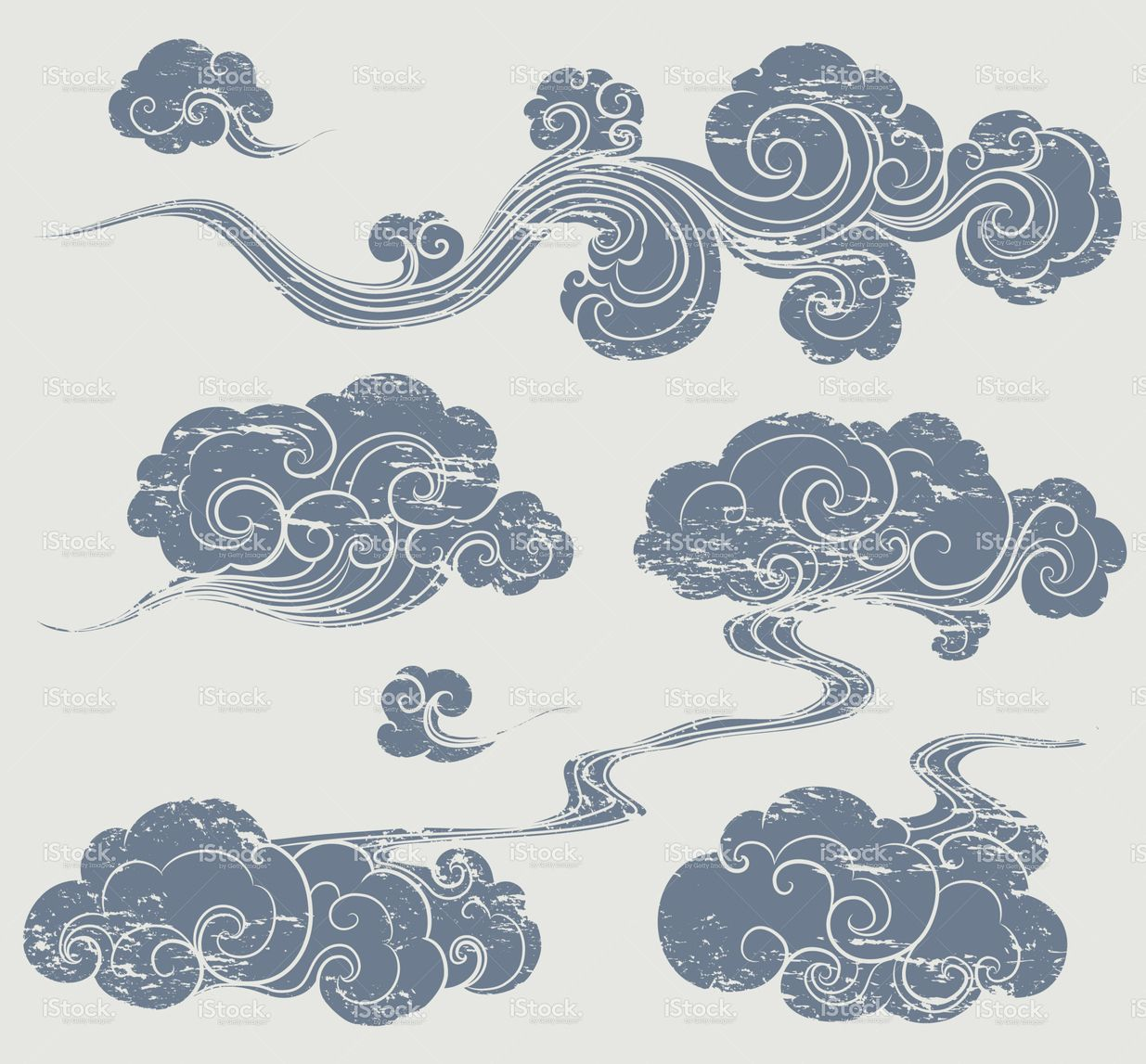A set of grunge cloud graphics in oriental style for Chinese clouds tattoos