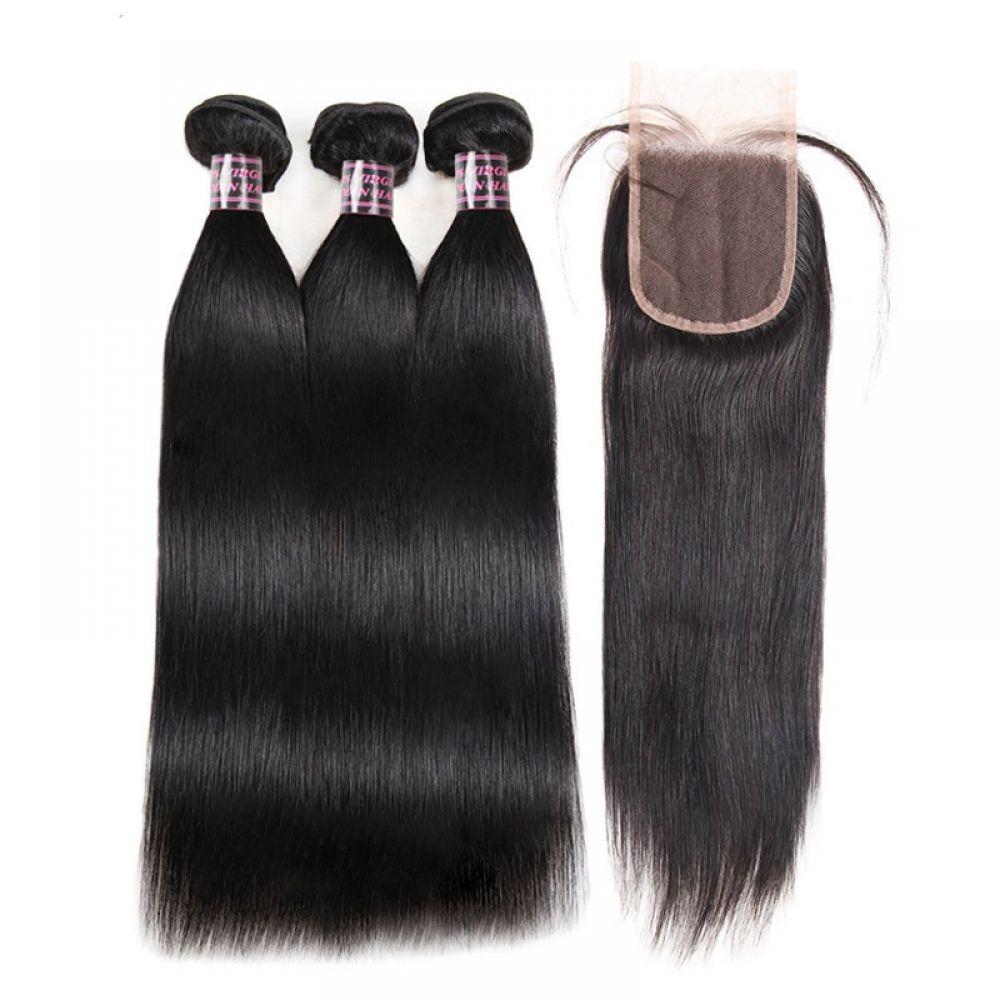 Straight Human Hair 3 Bundles With Closure Peruvian Hair