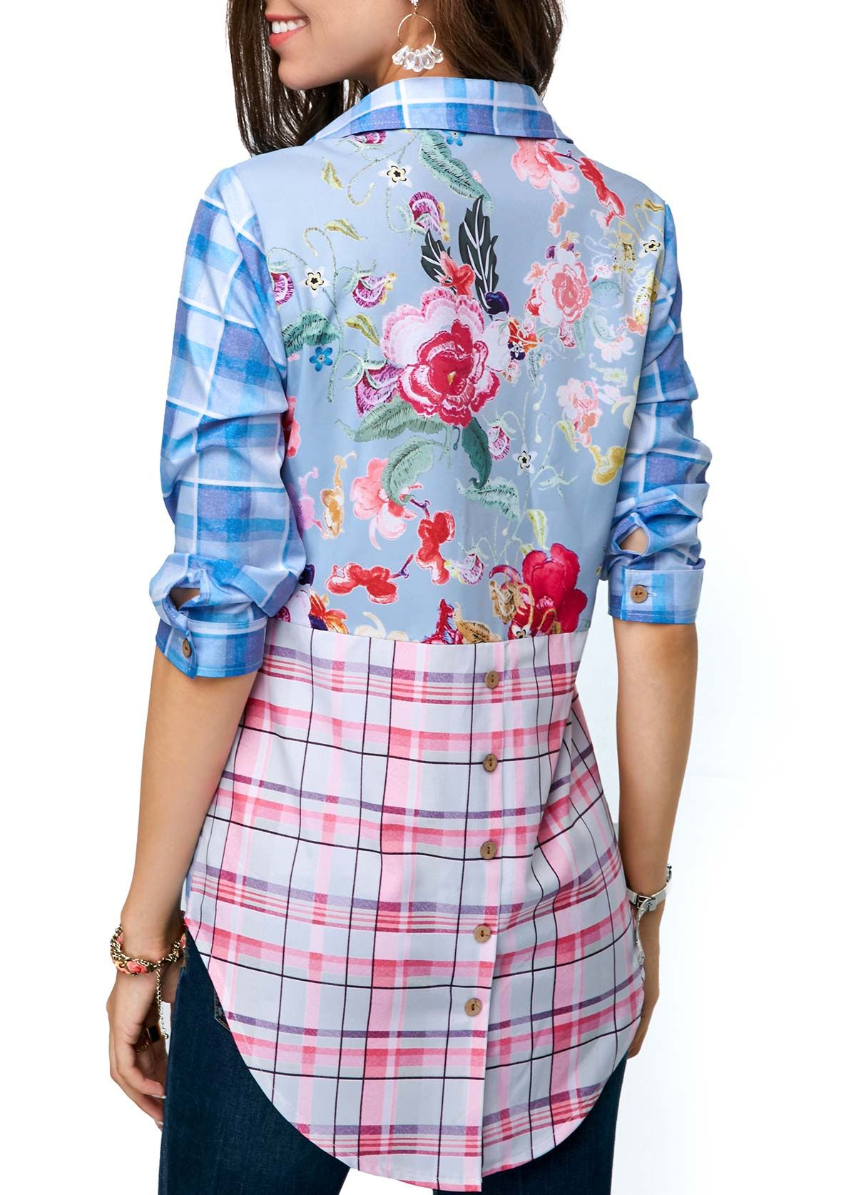 2cca854d773 Button Front Turndown Collar Printed Blouse