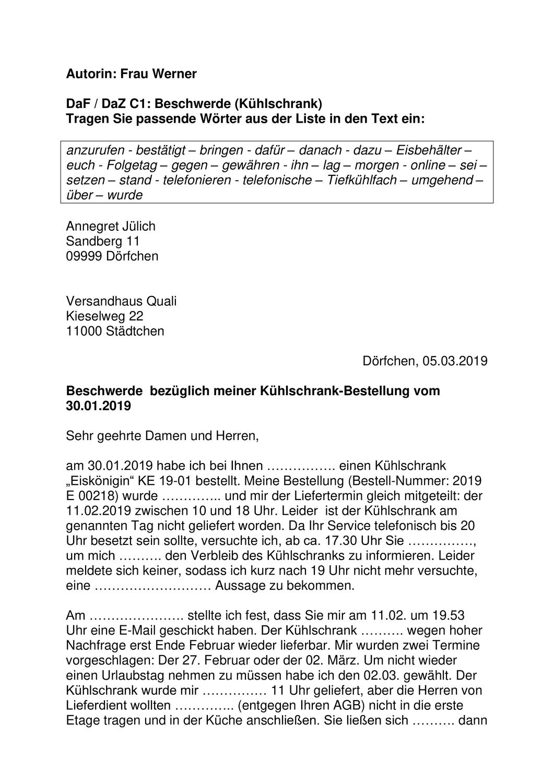 Dafdaz C1 Textbausteine Beschwerde Kuhlschrank Mit Losung Unterrichtsmaterial Im Fach Daz Daf Daf Worter Bausteine