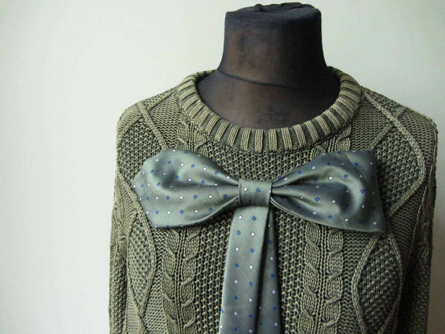 Green Oversized Sweater, Upcycled Sweaters, Sweater with Big Bow ...