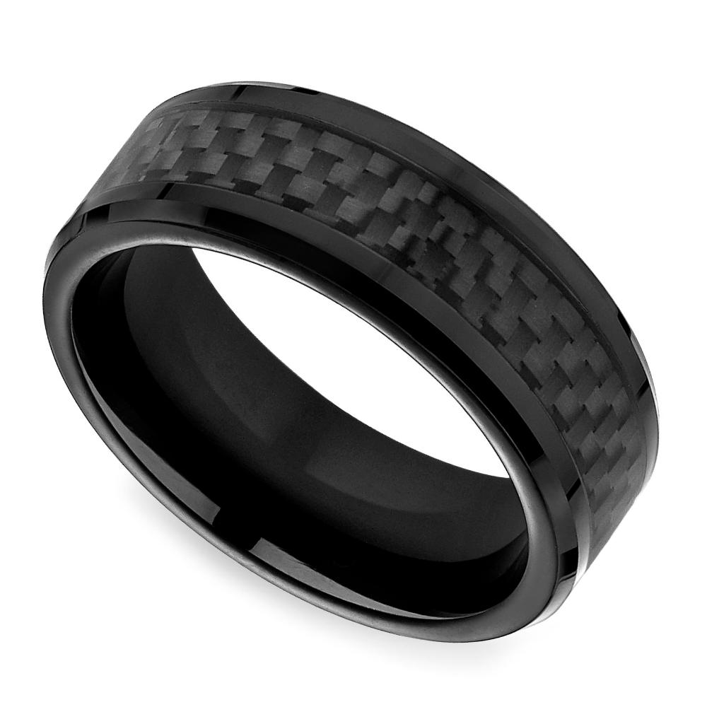 Black Carbon Fiber Men's Wedding Ring In Cobalt: Male Wedding Bands Carbon Black At Reisefeber.org