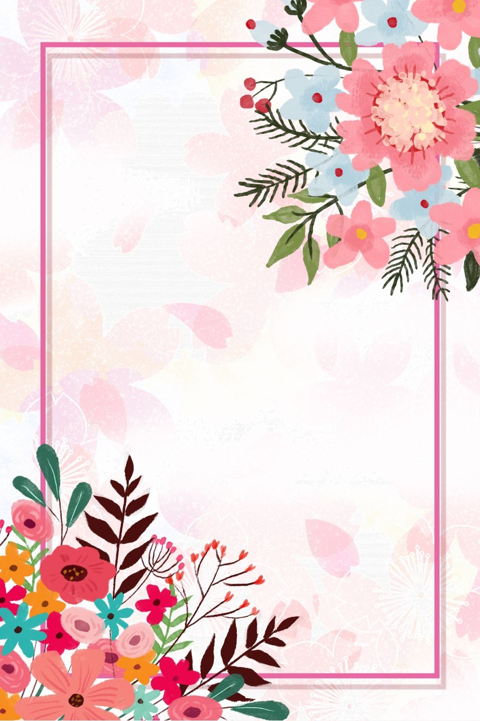 Flower Border Poster Background in 2020 Floral