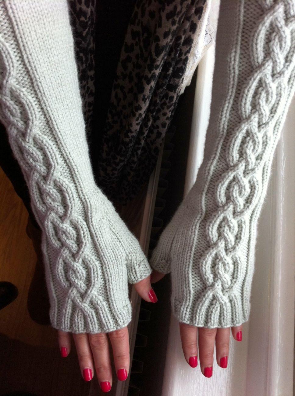 Free knitting pattern for Winter Wonderland Fingerless Mitts, long ...