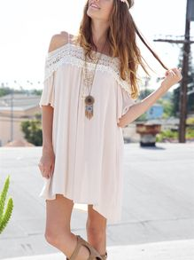 47d5543ac6 Apricot Spaghetti Strap Off The Shoulder With Lace Dress -SheIn(Sheinside)