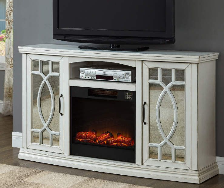 60 White Farmhouse Console Electric Fireplace At Big Lots Big