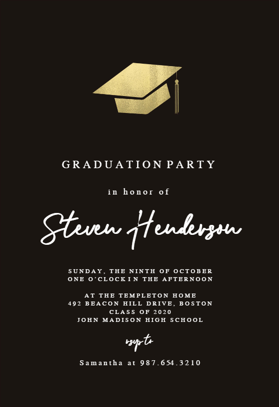 Simple Gold Hat Graduation Party Invitation Template Free Greetings Island Graduation Party Invitations Templates Graduation Card Templates Graduation Invitations Template