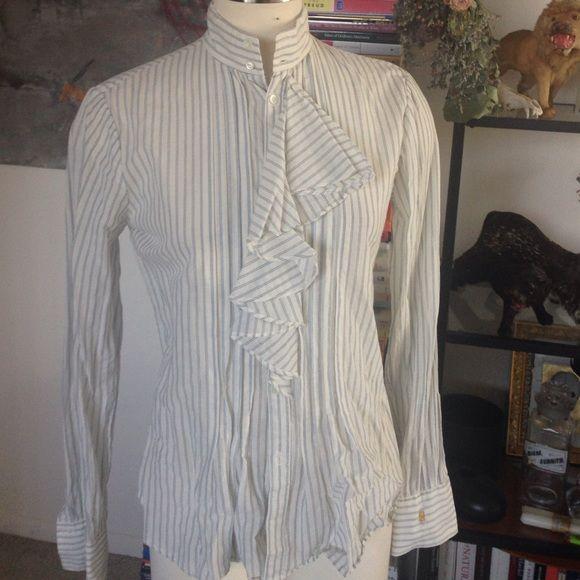 Cotton linen pinstripe dress shirt Ralph Lauren Cotton linen blend top in size 6. Fits S-M. Gathered waist for a flattering fit. Ruffle front. White with light blue stripes. Ralph Lauren Tops Button Down Shirts