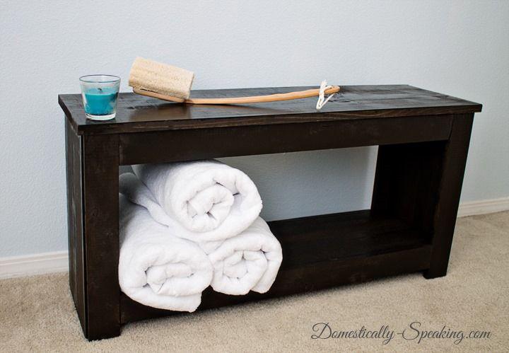 DIY Bathroom Bench & DIY Bathroom Storage Bench | Bathroom bench Bench and Bathroom storage