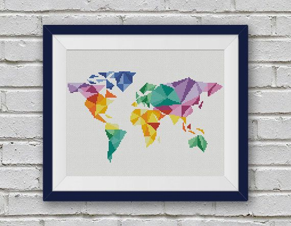 Bogo free geometric map cross stitch pattern world map silhouette geometric map cross stitch pattern world map silhouette counted cross stitch chart modern decor pdf instant download 025 17 3 gumiabroncs Gallery