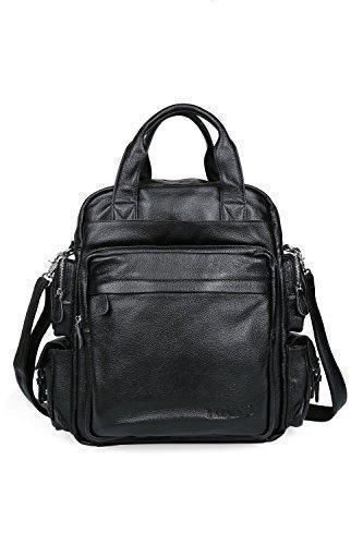 3257a3d5a Comprar Ofertas de Tiding Hombre Negro Piel bolsas multiuso mochila de  bolso de hombro de viaje barato. ¡Mira las ofertas!