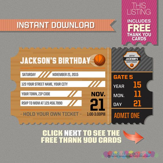 Basketball Ticket Invitation with FREE Thank by PartyPrintables2go - download invitation card