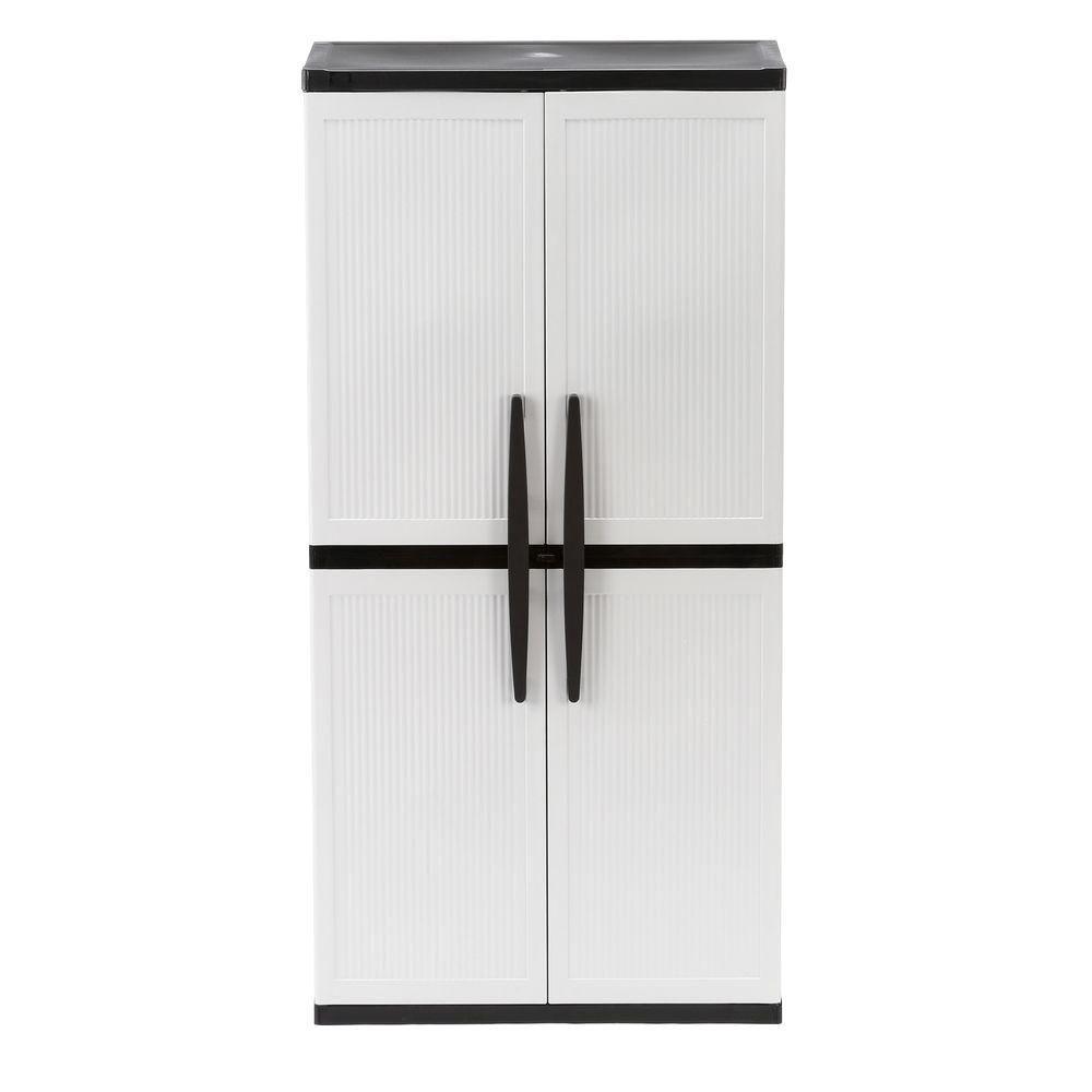 Best Hdx 35 In W 4 Shelf Plastic Multi Purpose Cabinet In Gray 400 x 300