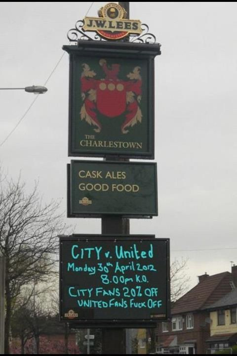 PR stunt by the Charlestown pub in Manchester ahead of Monday's derby? #MCFC #MUFC