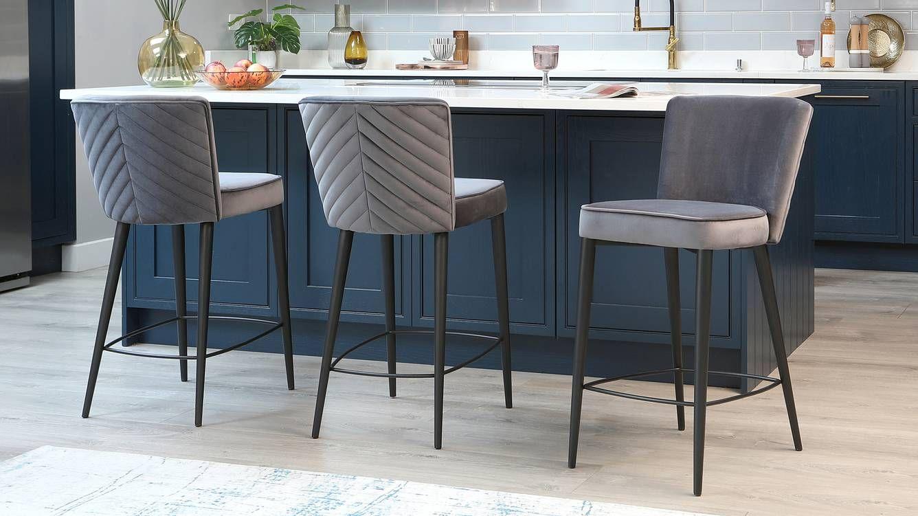 Serena Dark Grey Velvet Bar Stool Modern Kitchen Stools Bar Chairs Kitchen Contemporary Bar Stools