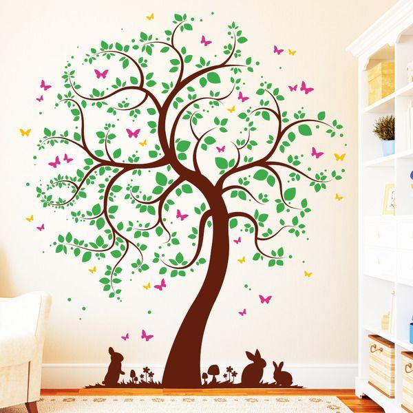 Good Wandtattoos   Wandtattoo Baum Mit Häschen 4farbig Schmetterlinge   Ein  Designerstück Von Wandtattoo Loft Bei