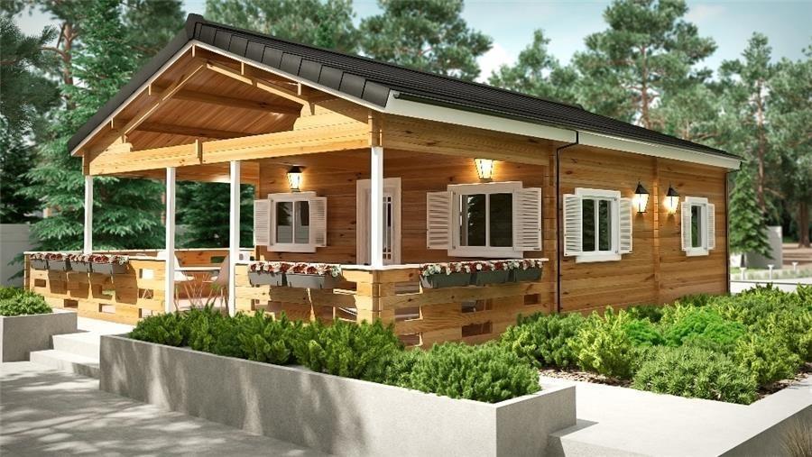 Salamandra a 45 m 700x500 con porche bungalow de madera - Bungalow de madera ...