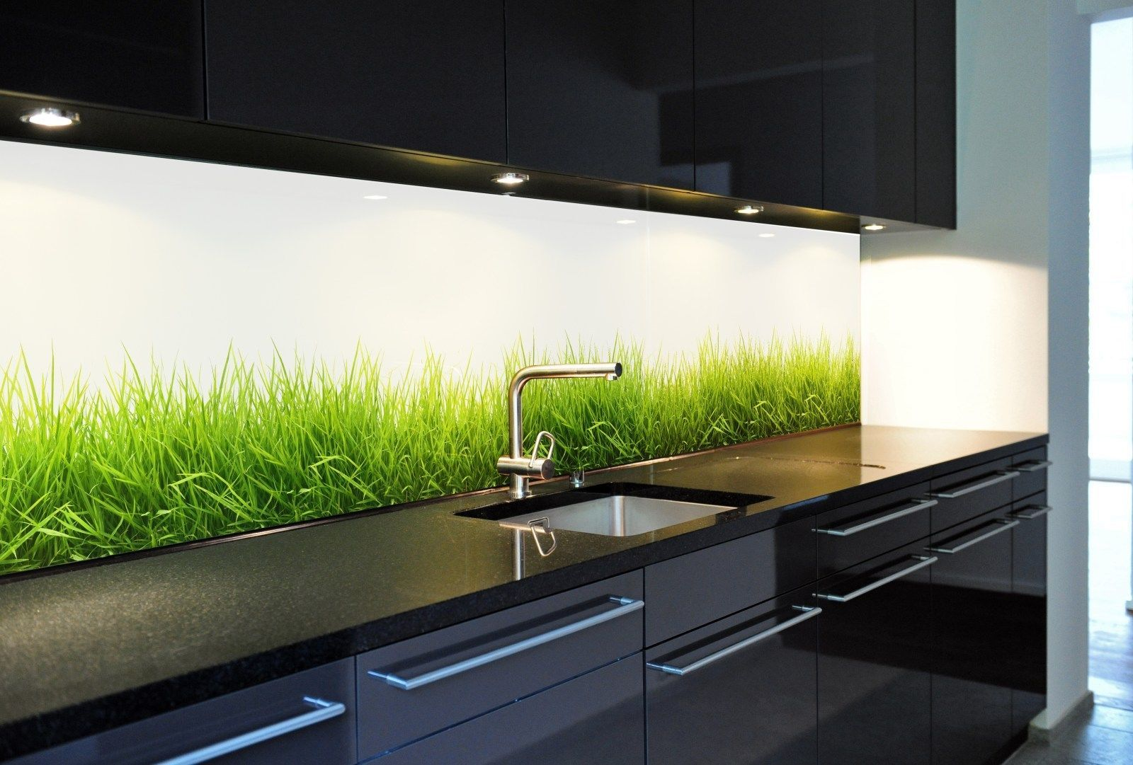 Küchenrückwand aus Glas, Motiv Gras, endlos verlegbar, keine Folie ...