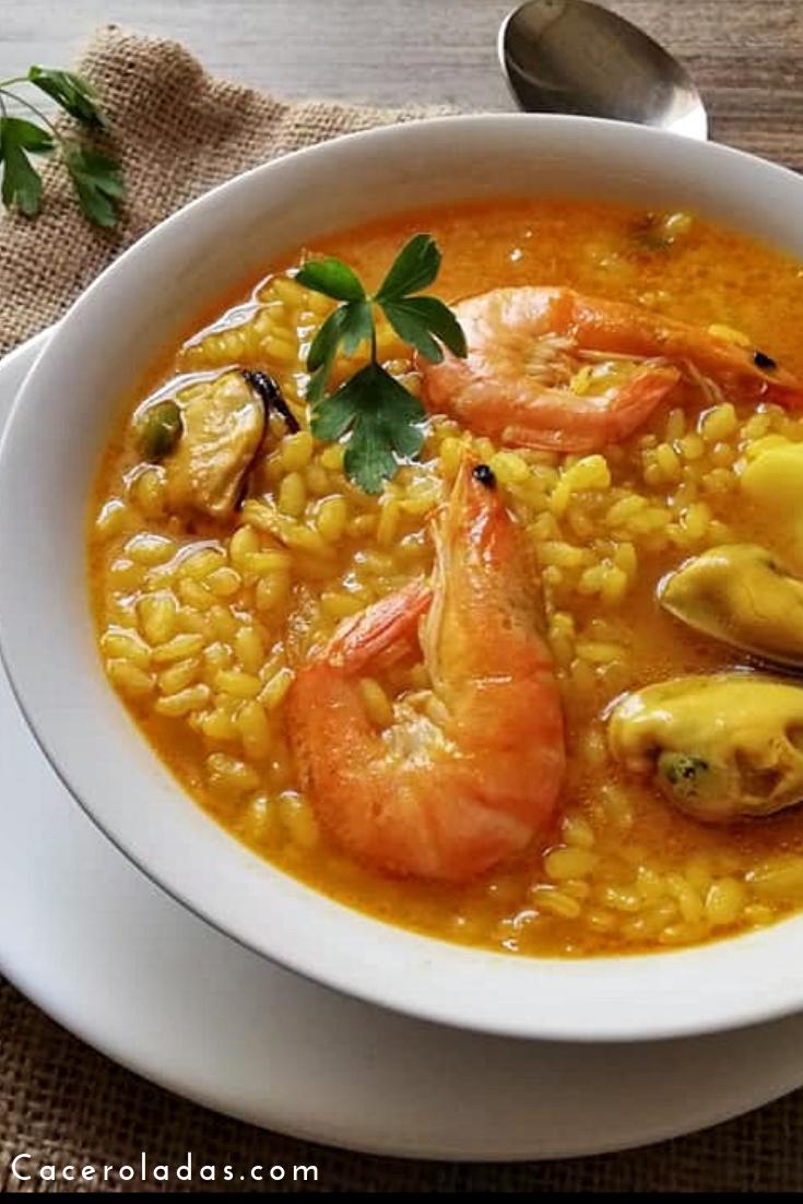 Arroz Caldoso De Marisco Y Pescado Rápido Y Fácil Sopa De Mariscos Receta Arroz Con Mariscos Receta Comida