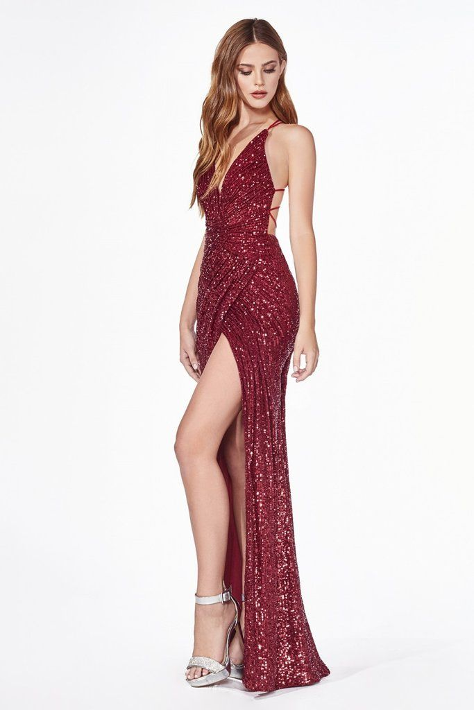 Photo of Fitted Long Sequin V-Neck Dress with Slit by Cinderella Divi…