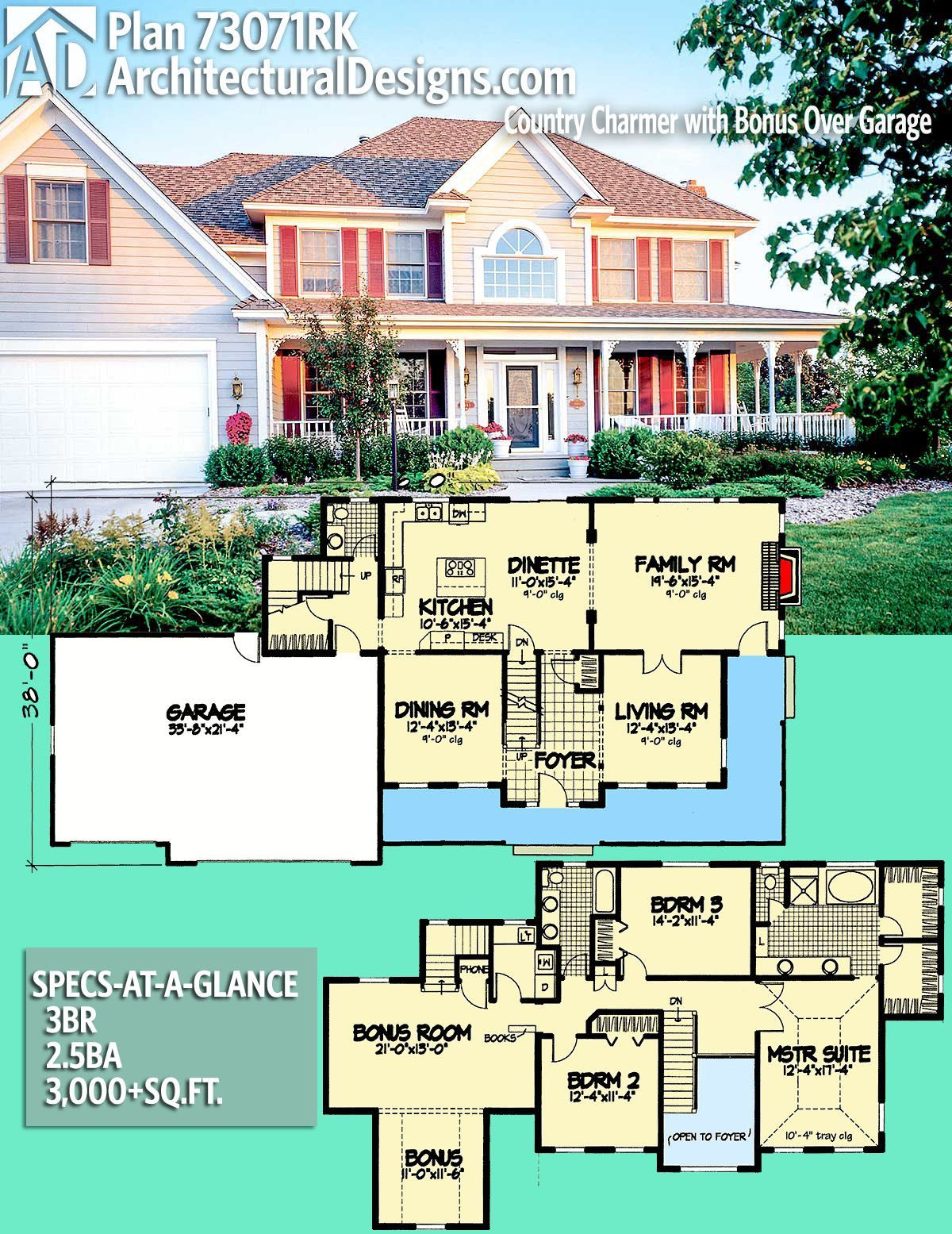 Architectural designs house plan rk love that there are two sets of stairs on different sides the to get second floor also rh pinterest