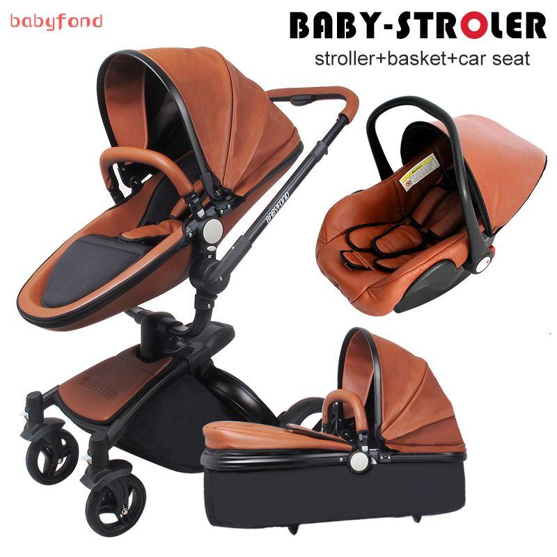 Babyfond Leder Kinderwagen Luxus Neugeborene Kinderwagen 3 In 1 Klapp Vier Rader Kinderwagen Babyautokinderwag Kinderwagen Leder Kinderwagen Kinderwagen 3 In 1