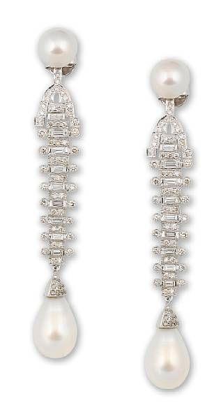 Orecchini pendenti con perle e diamanti