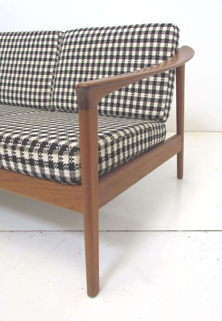 Folke Ohlsson Teak Frame Sofa For Dux 1960s Carved Sofa