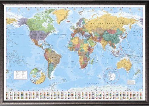 Framed gb eye world map 24x36 poster in silver finish wood frame framed gb eye world map 24x36 poster in silver finish wood frame you can get additional details at the image linkteit is affiliate link to amazon gumiabroncs Gallery