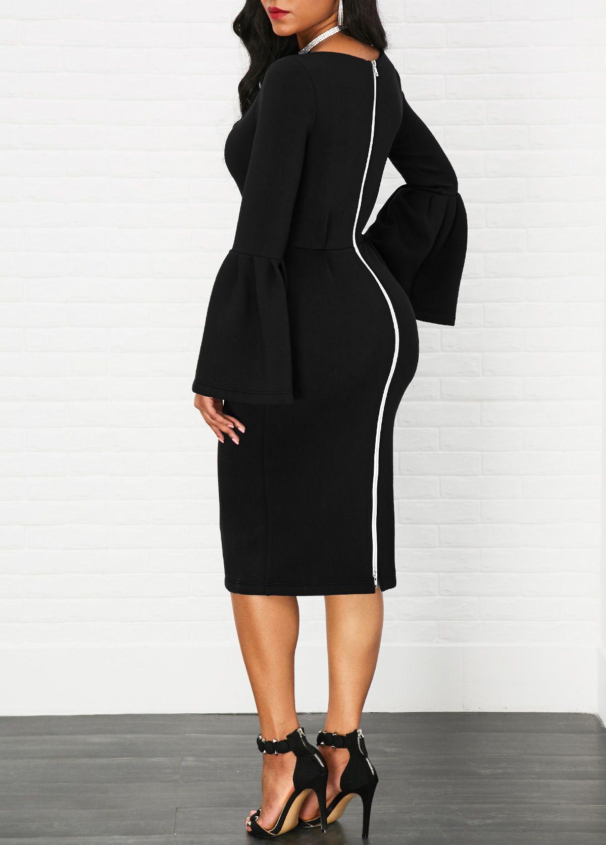 High Waist Zipper Back Flare Sleeve Black Dress Rotita Com Usd 32 77 Shop Casual Dresses Fashion Clothes [ 1674 x 1200 Pixel ]
