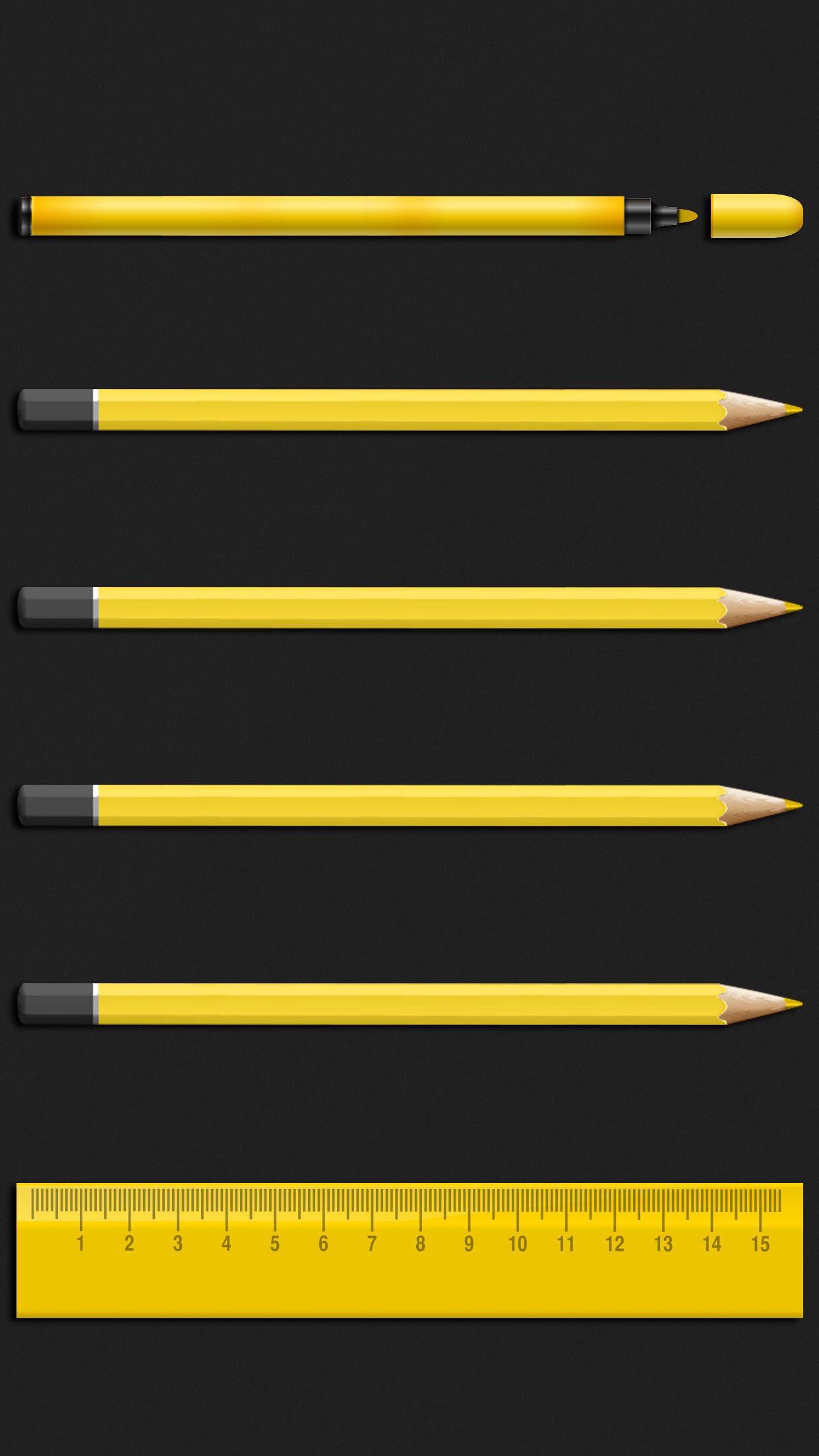 pencil and ruler shelf wallpaper