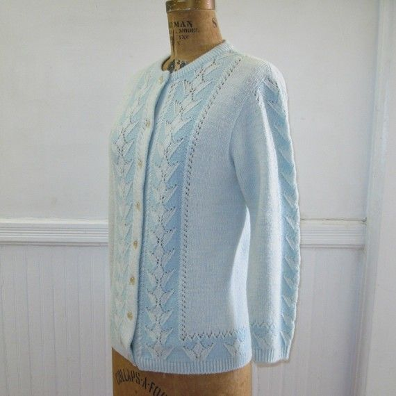 vintage 60s Powder Blue Cardigan Sweater with by FASHIONRERUN ...