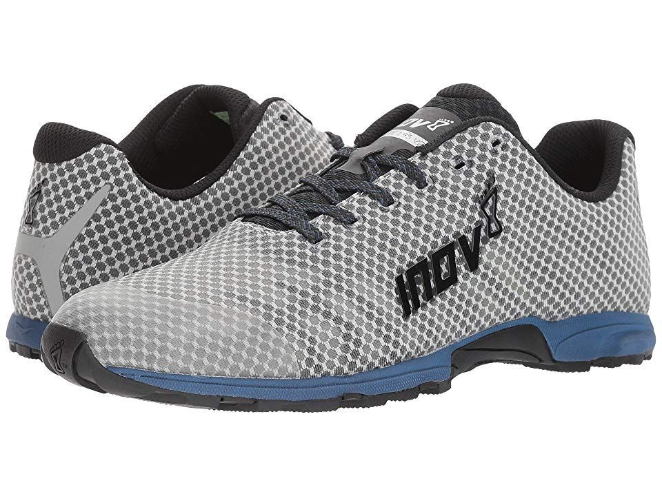 F-Lite 195 V2 (Grey/Blue) Men's Running Shoes. For the all-around fitness guru  the inov-8 F-Lite 195 V2 keeps up with your running  weightlifting  and HIIT training goals! Precision Fit offers a snug fit that reduces internal movement. Ideal for regular to narrow feet. Durable and breathable one-piece mesh upper. TPU lacing...