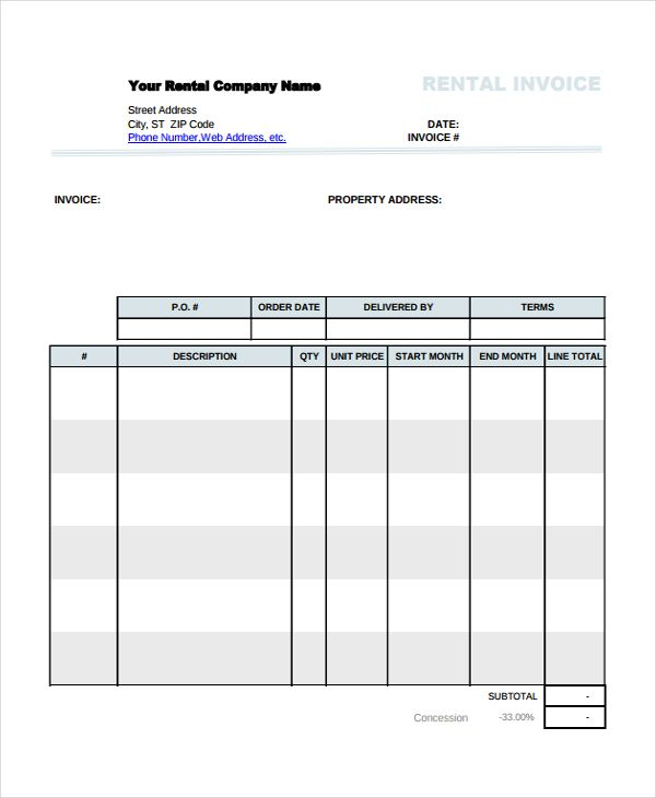 Company Rental Invoice Template , Using the Rental Invoice - blank service invoice