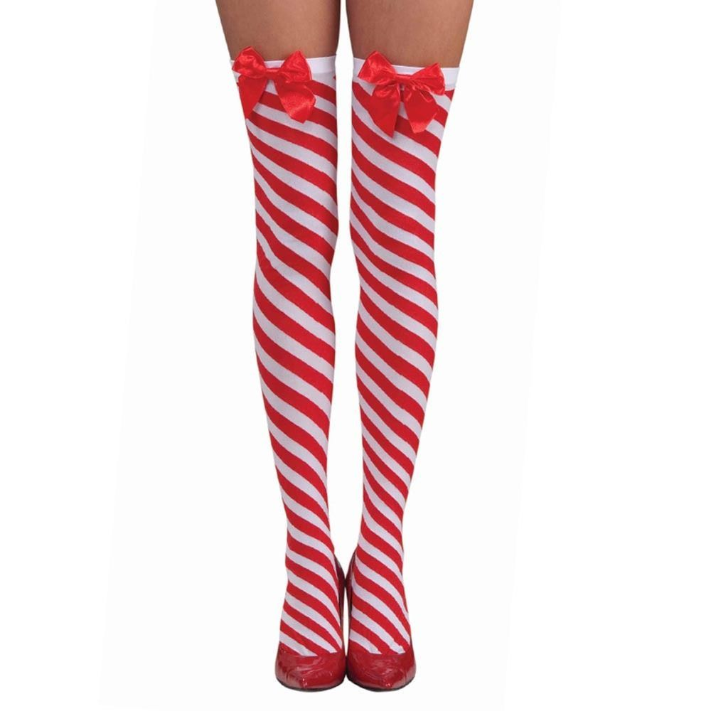 59ae99113 Sexy Womens Candy Cane Thigh High Stockings with Red Bow embellishment Red  and White Christmas Holiday Thigh High Stockings Add some festivity to your  ...