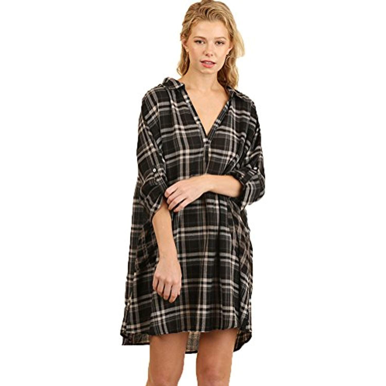 257841ab9e9 Women's Plaid Shirt Pocket Dress/Tunic with Roll up Sleeves >>> Be sure to  check out this awesome product. (This is an affiliate link)
