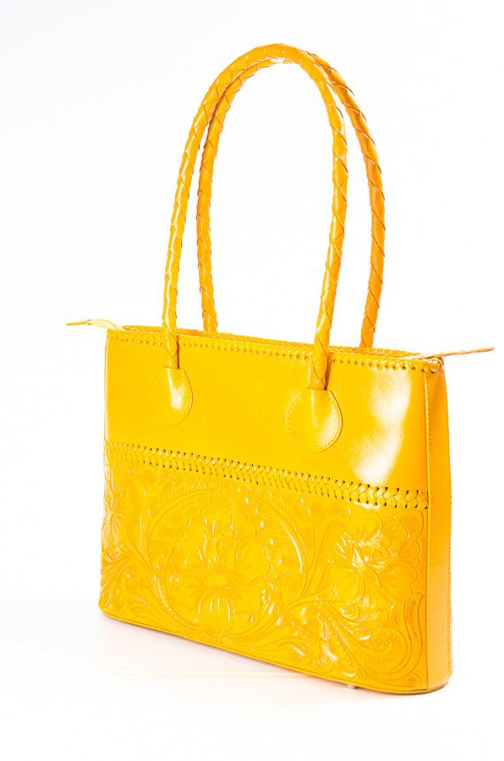 53b942bc1af Handmade and Hand Embossed Yellow Leather Purse Sandalias