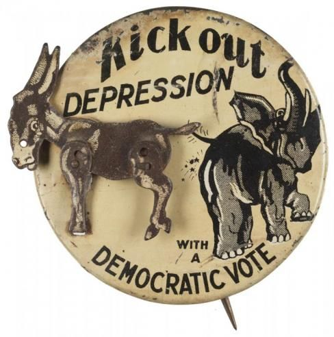 1932 ELECTION - A mechanical badge in support of the Democratic ...