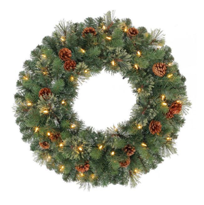 """Christmas Holiday 24"""" Diameter Pre-Lit Battery Operated Wreath Indoor Outdoor #Unbranded"""
