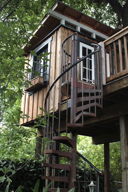 Spiral Staircase Tree House Tree House Cool Tree Houses Tree House Kids