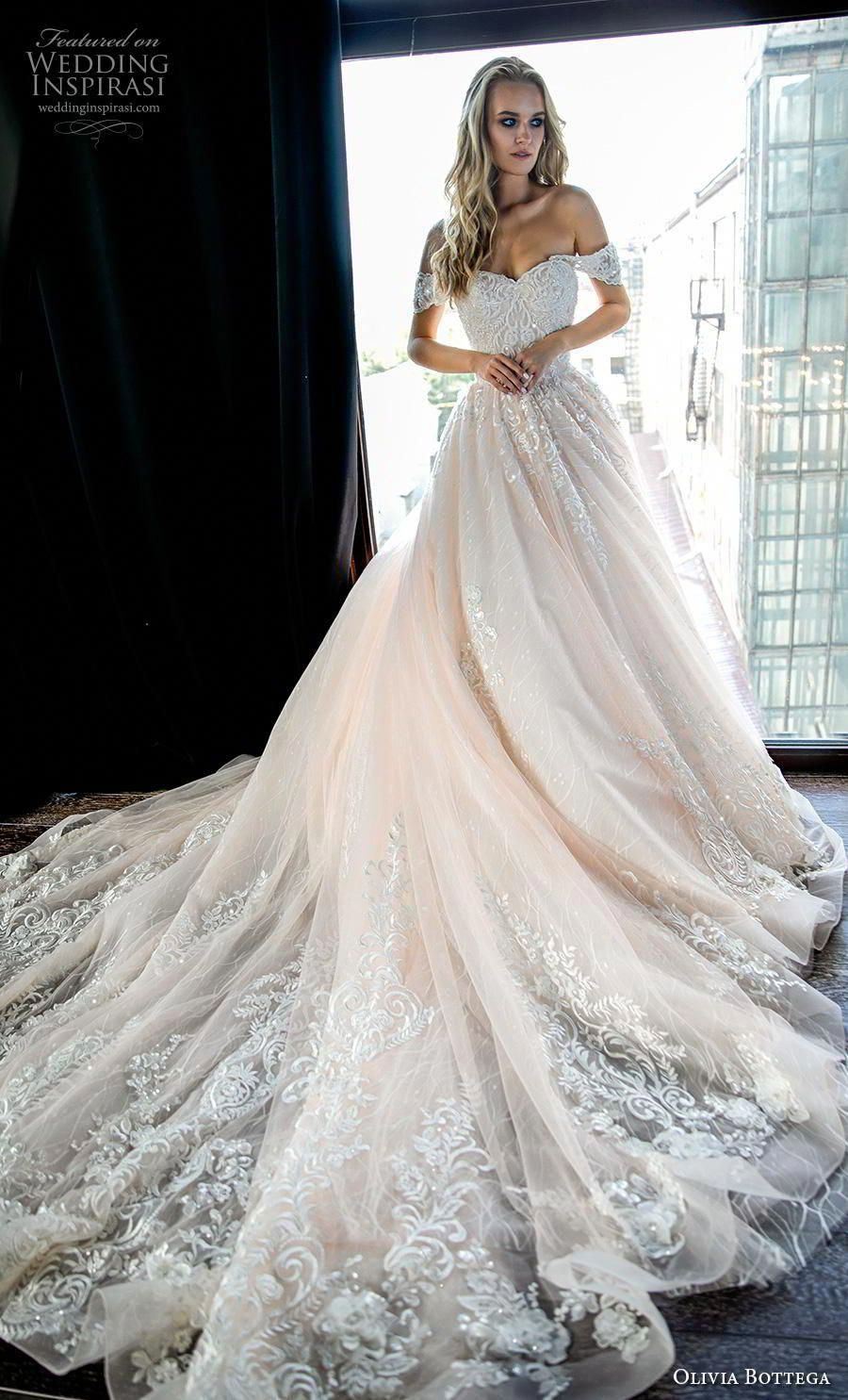 olivia bottega 2019 bridal short sleeves off the shoulder sweetheart neckline heavily embellished bodice romantic blush ball gown a line wedding dress royal train (2) mv  Olivia Bottega 2019 Wedding is part of Wedding dresses beaded -
