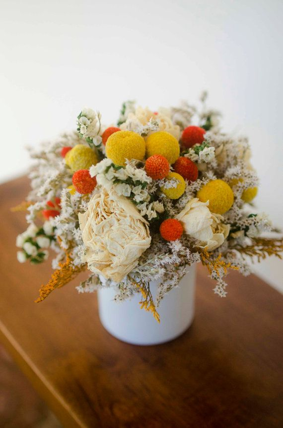 Billy Balls And Peonies Fall Arrangement Yellow And Orange Arrangement Dried Craspedia Arrangement Drie Flower Arrangements Dried Flowers Fall Arrangements