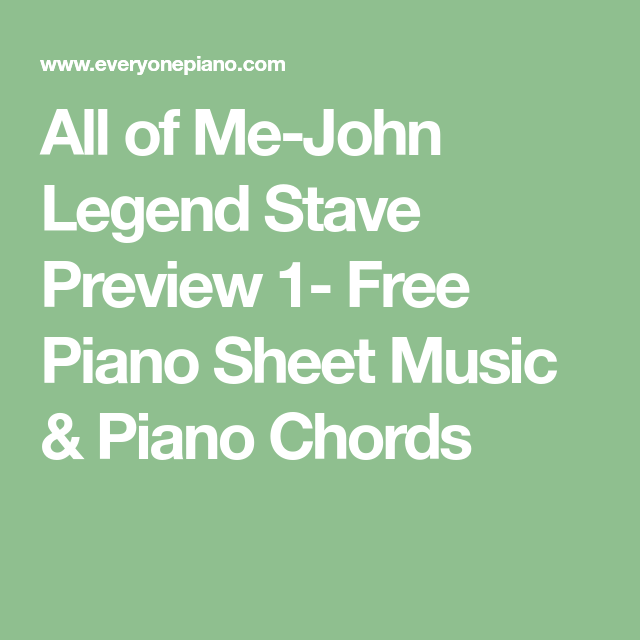 All Of Me John Legend Stave Preview 1 Free Piano Sheet Music