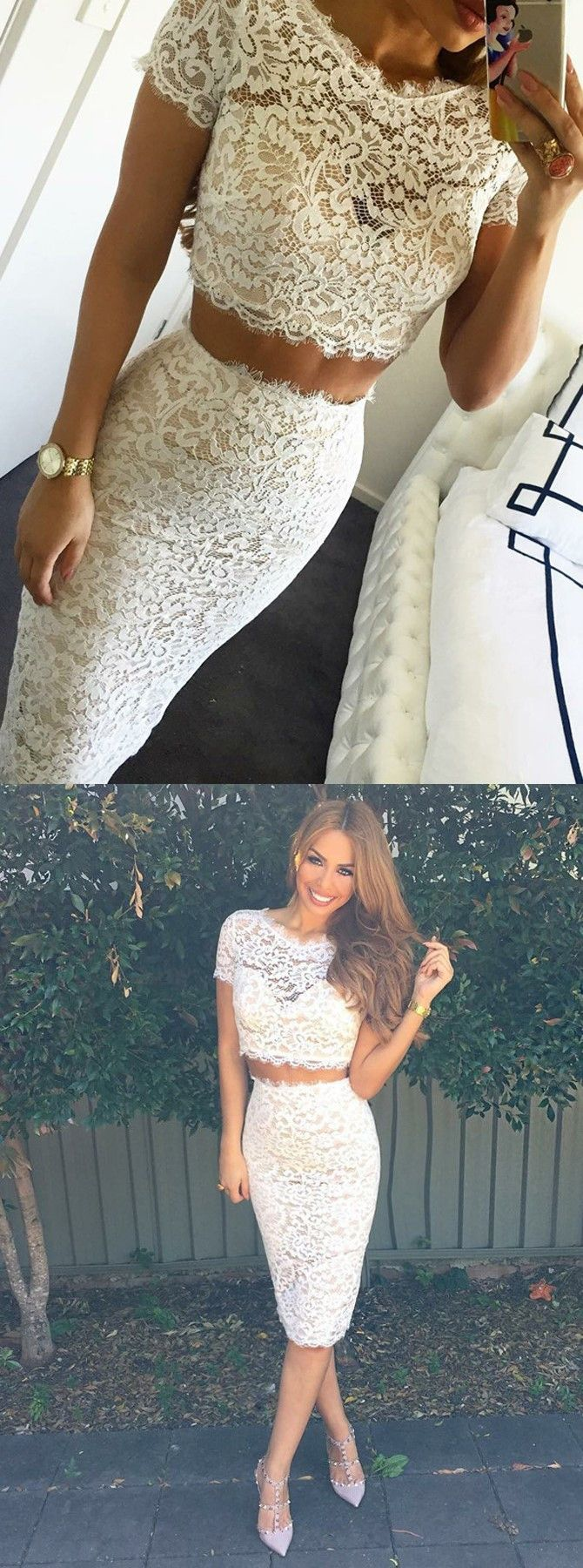 Two piece scallopededge short sleeves white lace prom dress in